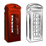 London Old Telephone Box Sketch Stock Images