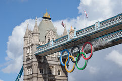 London Olympic Rings. Olympic rings on Tower Bridge for The London 2012 Olympics and Paralympics Games Stock Images