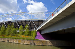 London Olympic Stadium and the River Lea. A view of the London Olympic Stadium and the City Mill River Royalty Free Stock Photos