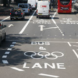 London Olympic traffic restriction lane. London, UK - July 26, 2012: London Olympic traffic restriction lane operate from15th July-11th September2012. Olympic Royalty Free Stock Image