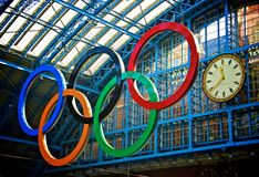London Olympics 2012 Countdown. London Olympics Logo at the St.Pancras International station with the large heritage clock