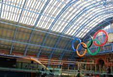 London Olympics 2012 Travel. St Pancras station in London ready for Summer Olympic Games Stock Photo