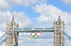 London Olympics. London, UK - August 05, 2012: Architectural detail of the famous Tower Bridge decorated with the Olympic circles to celebrate the 30th Olympiad Stock Images