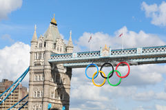 London Olympics. London, UK - August 05, 2012: Architectural detail of the famous Tower Bridge decorated with the Olympic circles to celebrate the 30th Olympiad Stock Photo