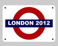 London Olympics concept. London 2012 underground tube subway sign concept, isolated on white background Stock Photos