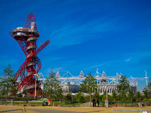 London Olympics Games 2012 Arcelor Mittal Tower an. D Olympic Stadium against a blue sky Royalty Free Stock Photos