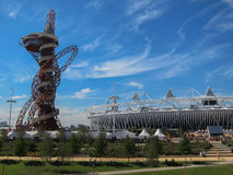 London Olympics Games 2012 Arcelor Mittal Tower an. D Olympic Stadium against a blue sky Stock Photography