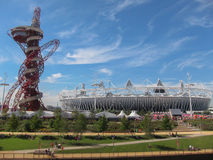 London Olympics Games 2012 Arcelor Mittal Tower an. D Olympic Stadium against a blue sky Stock Image