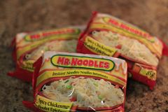 London ontario canada, february 01 2018, editorial photo of Mr.Noodles which are ramen noodles. These noodles are very royalty free stock photos