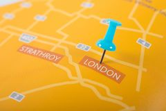London Ontario Canada map. With blue push pin royalty free stock photography
