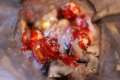 2017-11-18 LONDON ONTARIO - EDITORIAL PHOTO OF LINDOR CHOCOLATE TRUFFLES IN RETAIL PACKAGING stock photography