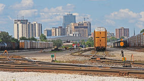London, Ontario Skyline Looking West From Rail Yards. View looking west at the skyline of London, Ontario, Canada with the rail yards in the foreground royalty free stock photo