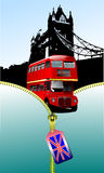 London with open zipper and double Decker bus Stock Photo