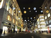 London Oxford Piccadilly City Night view. London Oxford Circus Piccadilly night view in December with Christmas Lights Royalty Free Stock Photos