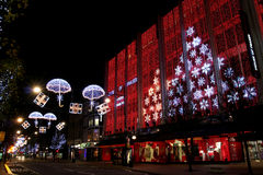 London Oxford Street in christmas. With street light decoration royalty free stock photo