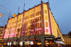 London, Oxford Street, House Of Fraser Christmas lights. Stock Photos