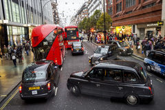 London Oxford Street View, taxi, bus present Stock Photos