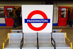 London Paddington station in London, UK. London, UK - June 19, 2016: London Paddington station with unidentified people. Much of the main-line station dates from Stock Photos