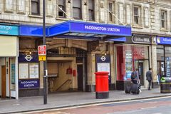London Paddington underground station entrance. On Praed Street Royalty Free Stock Photos