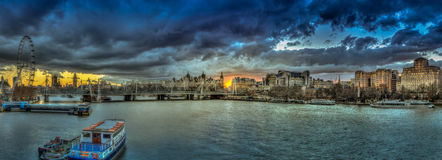 London Panorama At Sunset Stock Photo