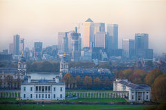 London, Panorama of Canary Wharf in evening.View from the Greenwich hills includes the park, Royal chapel, Painted hal Stock Image