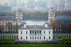 London, Panorama of Canary Wharf in evening.View from the Greenwich hills includes the park, Royal chapel, Painted hal Royalty Free Stock Image
