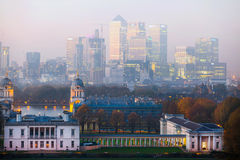 London, Panorama of Canary Wharf in evening.View from the Greenwich hills includes the park, Royal chapel, Painted hal Royalty Free Stock Photography