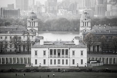 London, Panorama of Canary Wharf in evening.View from the Greenwich hills includes the park, Royal chapel Royalty Free Stock Photography