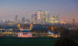 London, Panorama of Canary Wharf in night. View from the Greenwich hills includes the park, Royal chapel, Painted hal Stock Image