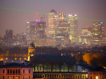 London, Panorama of Canary Wharf in night. View from the Greenwich hills includes the park, Royal chapel, Painted hal Stock Images
