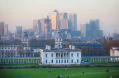 London, Panorama of Canary Wharf in night. View from the Greenwich hills includes the park Royalty Free Stock Image