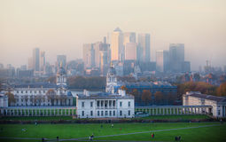 London, Panorama of Canary Wharf in night. View from the Greenwich hills includes the park Royalty Free Stock Photo