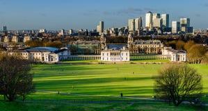 London panorama från Greenwich Royaltyfri Fotografi
