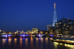 London Panorama. New London city hall at night , panoramic view from river Royalty Free Stock Photo
