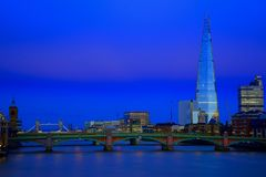 London Panorama. New London city hall at night , panoramic view from river Stock Image