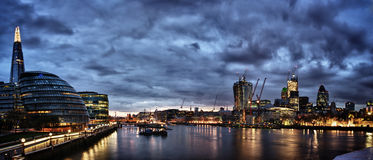 London Panorama. New London city hall at night , panoramic view from river Royalty Free Stock Photography