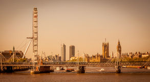 London panorama in sepia royalty free stock image