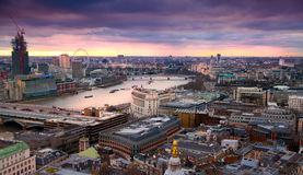 London panorama from the St. Paul cathedral, river Thames in sun set Stock Images