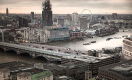London panorama from the St. Paul cathedral, river Thames in sun set Royalty Free Stock Image