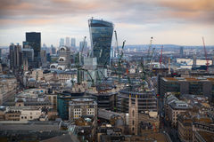 London panorama from the St. Paul cathedral, Walkie Talkie building in sunset Stock Photos