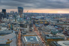 London panorama from the St. Paul cathedral, Walkie Talkie building in sunset Royalty Free Stock Photography