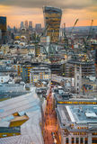 London panorama from the St. Paul cathedral, Walkie Talkie building in sunset Royalty Free Stock Photos