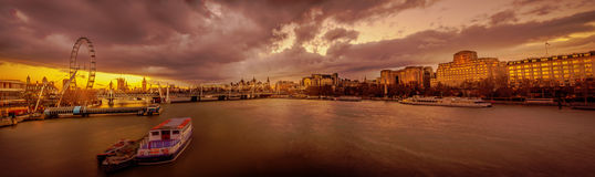 London panorama at sunset stock photos