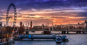 London panorama at sunset royalty free stock photo