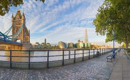 London - The panorama of Thames riverside, Tower bridge and Shard from promenade in morning light.  Royalty Free Stock Photo