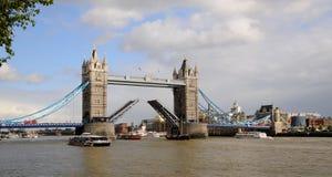 London panorama- Tower Bridge. Open to lifting the London Tower Bridge royalty free stock photo