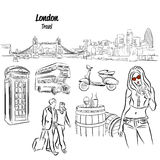 London Panorama and Travel Icons Sketches, Royalty Free Stock Photos