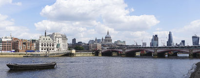 London Panorama. London, United Kingdom - June 01, 2014: View to the Tower bridge and the river Thames royalty free stock images