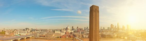 London, panorama of St. Paul`s cathedral and Millenium bridge Stock Photography