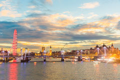London panoramic view at sunset with illuminated skyline Stock Images